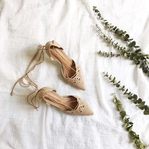 Christian Siriano Faux Suede Lace Up Heels